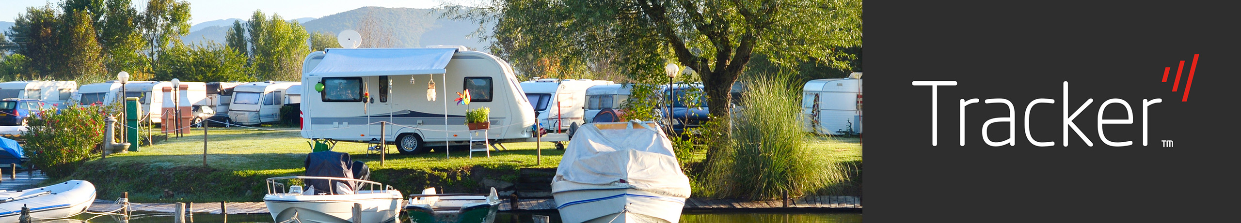 Home Away or in Storage protect your caravan by Tracker banner